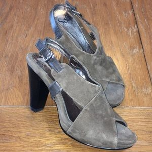 Sofft brown suede leather peep toe